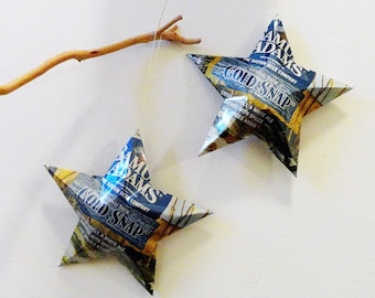 Samuel Adams Cold Snap or Summer Ale Beer Stars, Christmas Ornaments, Upcycled Aluminum Can, Recycled, Boston Beer Company, Sam Adams