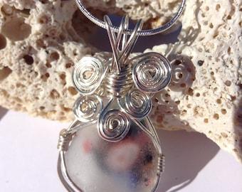 Wire Wrapped Rare Murano Sea Glass Pendant, Authentic Sea Glass