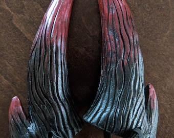 Small Black and Red Double Pronged Costume Horns
