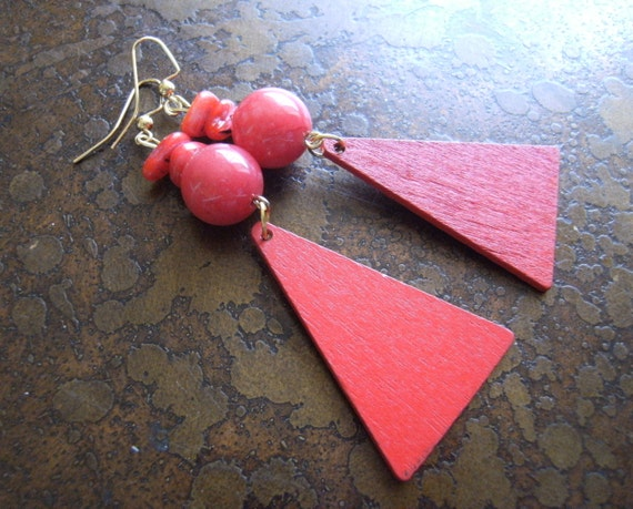 Lady in Red Wood and Glass Beaded Dangle earrings
