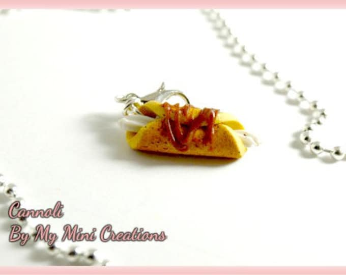 Cannoli Necklace, Miniature food, Miniature Food jewelry, Food jewelry