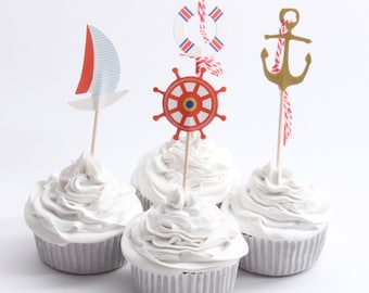 24 PC Nautical Blue Water Ocean Anchor Coloful Cupcake Toppers Dessert Party Supplies Theme Decorations nb040118