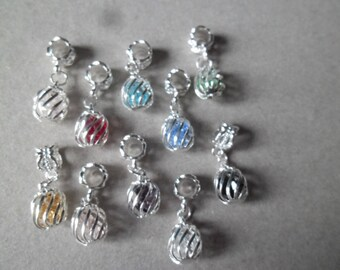 x 10 mixed Pearl Crystal cage metal charms silver 26 x 10 mm