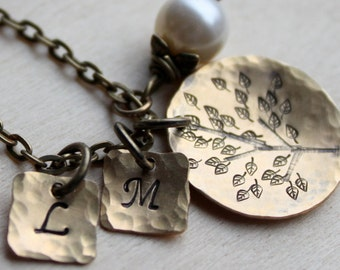 Sale. Brass Handstamped Initials, Family Tree Rustic Necklace. Add up to 3 initials no extra charge. Swaroskvi Pearl