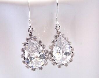 Bridal Earrings, Glass, Cubic Zirconia, Crystal Earrings, Silver, Wedding Jewelry, Bridesmaid Earrings, Bride Earrings, Bridesmaid Gift
