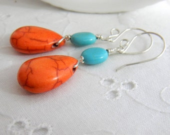 Turquoise blue and orange earrings, summer earrings, beachy earrings, Bright earrings, Handmade Dangle earrings