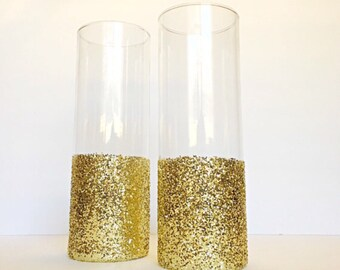 Gold Dipped Vase, Gold wedding decor, glitter dipped vases, Glitter Vase, Cylinder Glass Vase, Gold Centerpieces, Wedding Vases, Gold Vase.