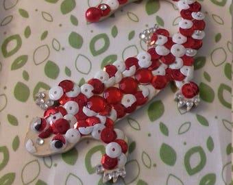 Cute salamander wooden beige red white rhinestones