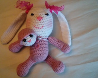 Amigurumi Pink Bunny and her toy