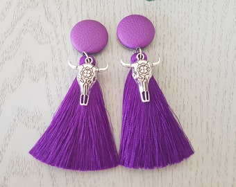 Purple Cowgirl Tassel Earrings - Hypo-Allergenic