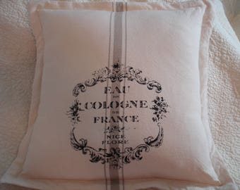 Grain Sack Pillow--Eau de Cologne de France--16 by 16--Ready to Ship--Free Shipping