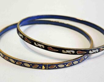 Vintage Cloisonne Enameled Bangle Bracelets