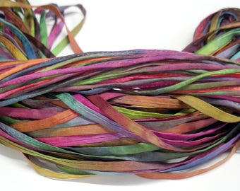 5YD. MARDI GRAS 2MM or 4MM Hand Dyed Silk Cord//5YD. Hand Dyed Silk Cording //4MM & 2MM accommodate insertion of memory wire