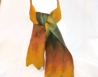 Felted Wool Scarf Merino  -Autumn Colors - Gold - Green - Rust Brown - Needlefelt Scarf - Gift for Her -