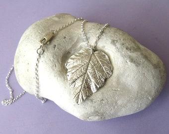 Fine silver bramble leaf necklace
