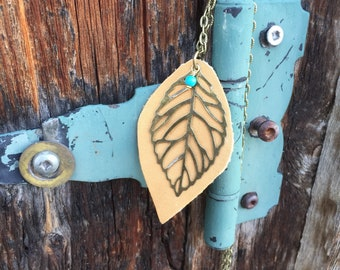 Mustard Leather with Brass Leaf & Turquoise Chain Necklace