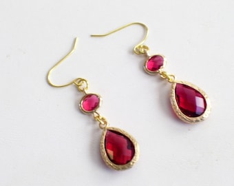 Ruby Red and Gold Earrings, Red Glass Earrings, Double Drop Dangles, Minimalist Earrings, Fall Earrings, Christmas Earrings, Holiday Jewelry