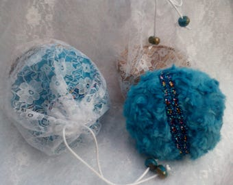 Turquoise Powder Puff Gift Set,  your choice of a 100g Dusting Powder, no Talc or Cornflour and a Lace Bag. Vegan.
