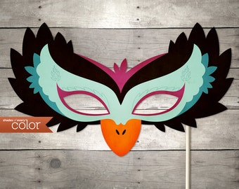 DIY Printable Black Swan Mask - Halloween, Birthdays, masquerade ball, mardi gras, and weddings