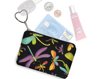 Credit Card Holder Change Purse Keychain Key Fob Boho Business Card Holder Colorful Dragonfly Fabric black purple blue yellow pink RTS