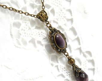 victorian pendant necklace victorian necklace purple necklace bronze jewelry purple pendant necklace purple necklace  victorian jewelry
