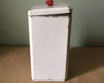 1940 Tall White Kitchen Tin Canister Kitchenalia