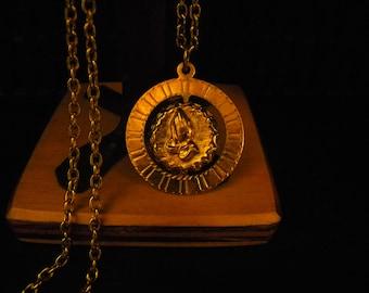 Vintage Prayer Hands and Cross Medallion Necklace