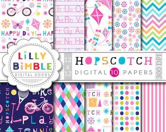 Hopskotch Digital Paper for summer, kids, kites, chevron, play, bikes, games, scrapbook, Instant Download