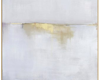 Best Selling Items, Framed Abstract Landscape, 40x40 48x48 Gold Framed Print, Gray Gold Art, Trending Item, Large Wall Art, Most Popular