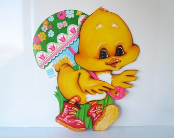 Large Vintage Easter Decorations Holiday Spring Chick with Parasol