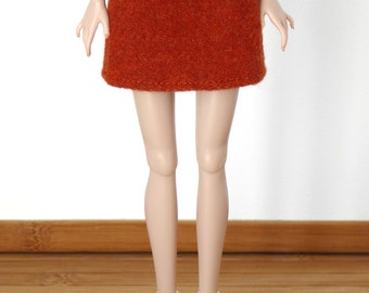Orange wool mini-skirt for Poppy Parker and Model Muse, Made to Move, New Silkstone or Pivotal Barbie