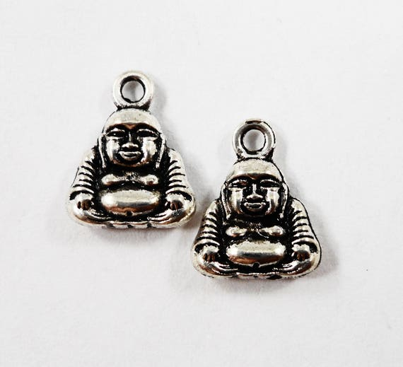Small Buddha Charms 12x10mm Antique Silver Buddha Pendants, Buddhist Charms, Religious Charms, Buddhism Charms, Double Sided Charms, 10pcs