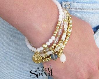 Bracelet à breloques Bouddha Charm Bracelet ensemble, ensemble de cinq Bracelet, or