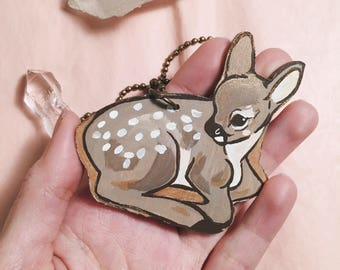 Brown Fawn Wooden Necklace - Handpainted Sleepy Baby Deer