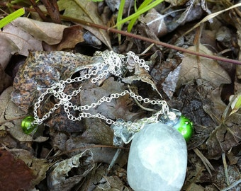 Reserved for Amy- Necklace-Serentiy Yoga Necklace in Quartz, sterling silver and greens