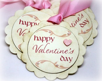 Valentine's Day Tags (Tripled Layered) - Happy Valentine's Day Gift Tags - 3D Hang Tags - Labels - 3 Dimensional Gift Wrap Tags (Set of 8)