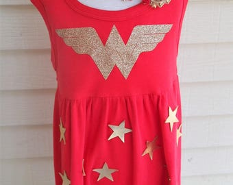 Girl's Wonder Woman inspired Dress; Girls wonder woman cotton dress;toddler  Superhero play dress;comfortable wonder woman costume for girls