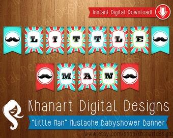 "Instant Download: ""Little Man"" Mustache Babyshower Banner (Red / Aqua)"