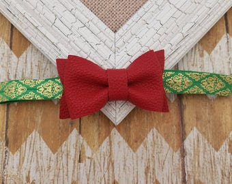 Red faux leather bow headband, red and green headband, Christmas headband, girls headband, baby headband, toddler headband, red bow headband