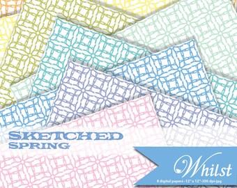 Spring digital paper, scrapbooking abstract paper, orange yellow pink purple green blue  : b0219 v301 spring 8