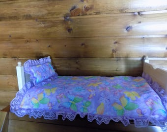 """18"""" doll bed with mattress cover, bedspread and matching pillow FREE SHIPPING"""