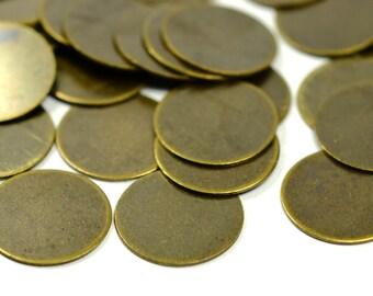 100 Pieces Antique Brass 12 mm Round Disc