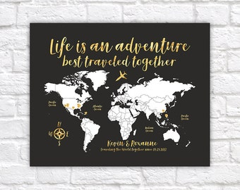 Its time for a new adventure world map travel poster world map travel poster gold travel map travel quote life is an adventure personalize gift travel destination map personalise wf555 gumiabroncs Choice Image