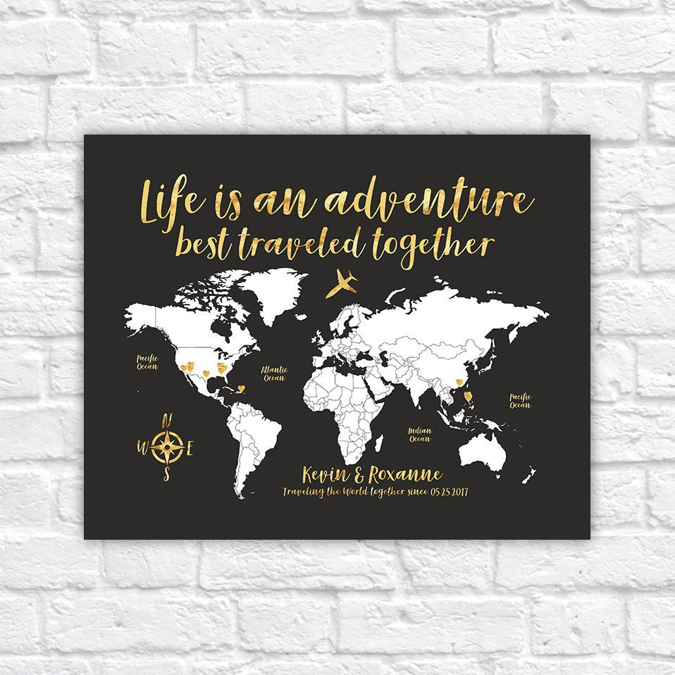 World map travel poster gold travel map travel quote life description custom world map gumiabroncs Images