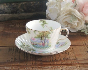 Vintage Aynsley Bluebell Time Tea Cup and Saucer Set, Swirled, Tea Party, Wedding, English Bone China, C1193, Ca. 1980's, Replacement China