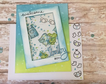Welcome Baby Boy! Handmade SHAKER baby boy congratulations card