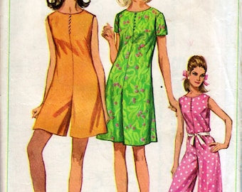 Bust 34-1967 Misses' Mod Pantdress in Three Lengths  Simplicity 7139  Size 14