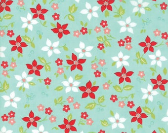 VINTAGE HOLIDAY Bonnie & Camille Vintage Christmas Poinsettia Aqua 1 Yard Moda Fabric