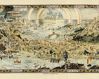 """Bernard Sleigh's map of the fictive place """"Fairyland"""" in 1920.  Vintage restoration hardware home Deco Style old wall reproduction print"""