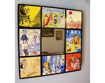Wizard of Oz wall mirror retro vintage fairy tale kitsch Scarecrow Tin Man decor